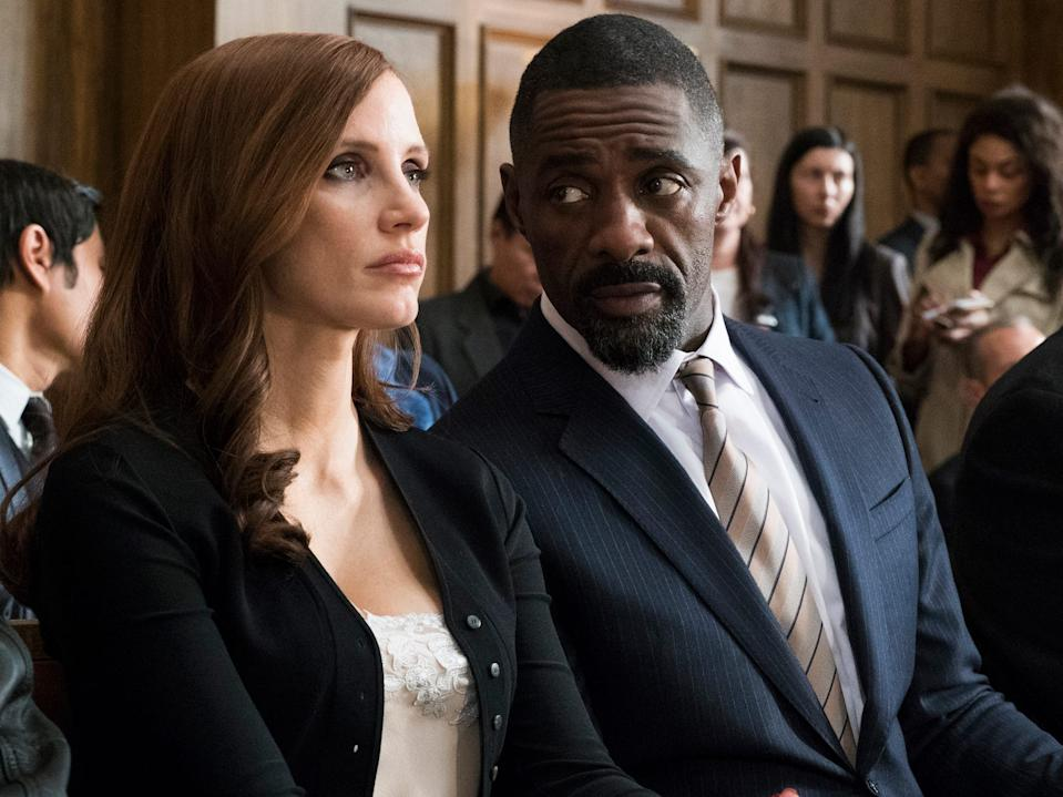 """Jessica Chastain and Idris Elba in """"Molly's Game."""""""