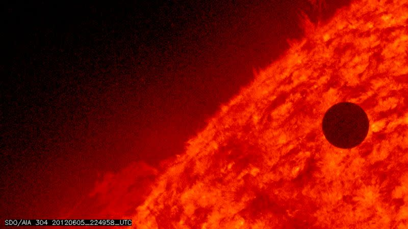 FILE PHOTO: NASA image shows the planet Venus at the start of its transit of the Sun