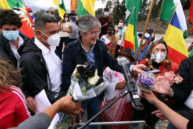 Ecuadorean presidential candidate Guillermo Lasso, greets supporters during his closing campaing rally on April 7, 2021