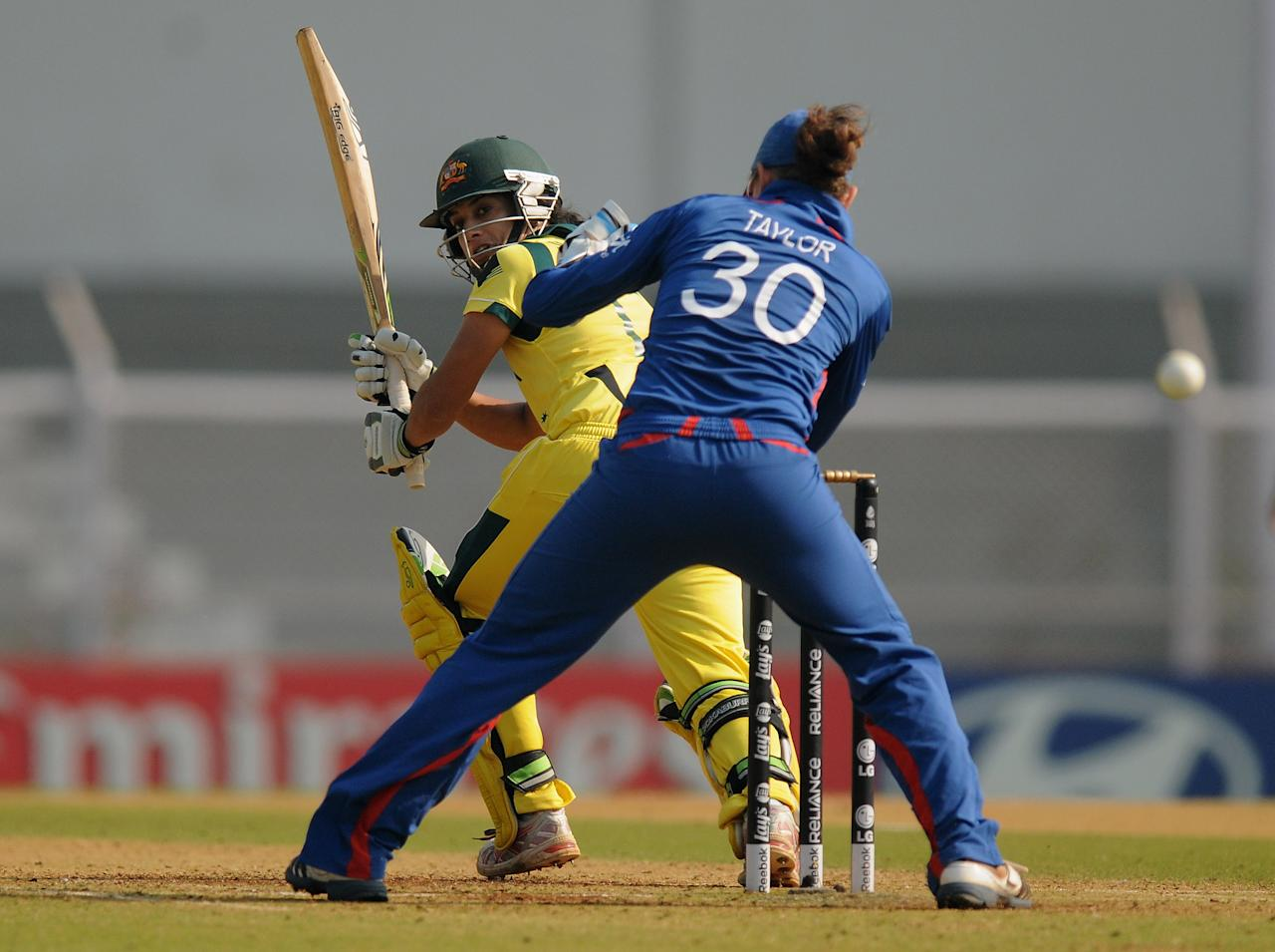 MUMBAI, INDIA - FEBRUARY 08:  Lisa Sthalekar of Australia bats during the super six match  between England and Australia held at the CCI (Cricket Club of India)  on February 8, 2013 in Mumbai, India.  (Photo by Pal Pillai/Getty Images)