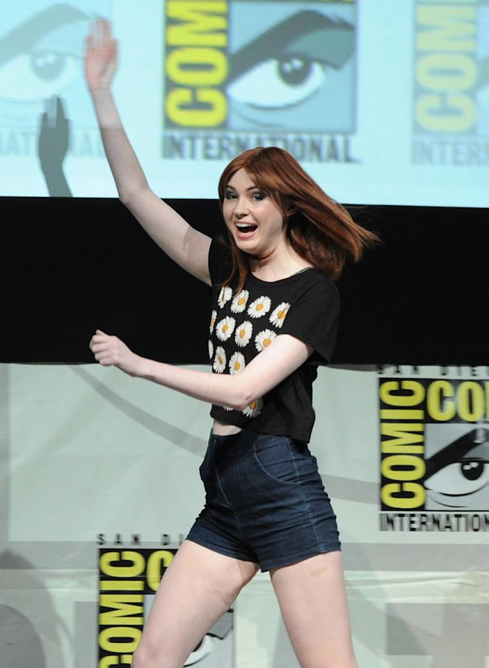 "SAN DIEGO, CA - JULY 20: Actress Karen Gillan speaks onstage at Marvel Studios ""Guardians of the Galaxy"" during Comic-Con International 2013 at San Diego Convention Center on July 20, 2013 in San Diego, California. (Photo by Kevin Winter/Getty Images)"