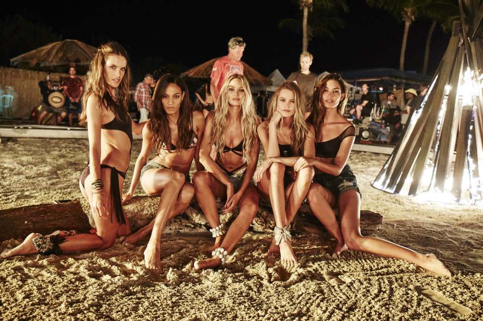 The models light up the night.