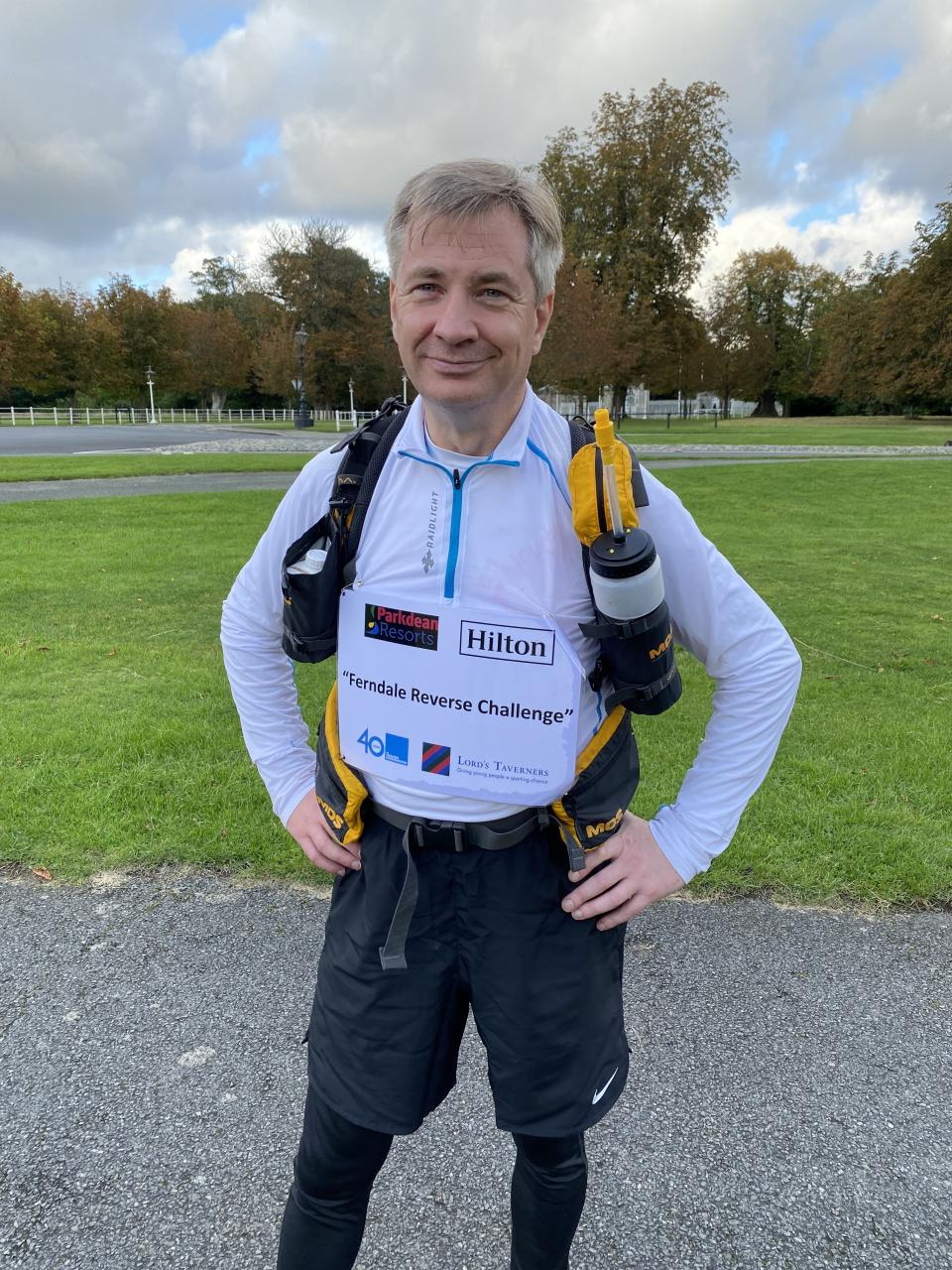 Michael Ferndale smiles after racking up the miles on day one of his Reverse Running Challenge in the Irish capital