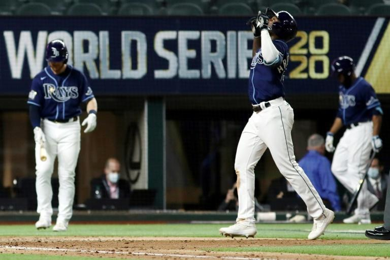 Tampa Bay's Randy Arozarena celebrates after hitting a solo home run in the Ray's 8-7 victory over the Los Angeles Dodgers in game four of the World Series