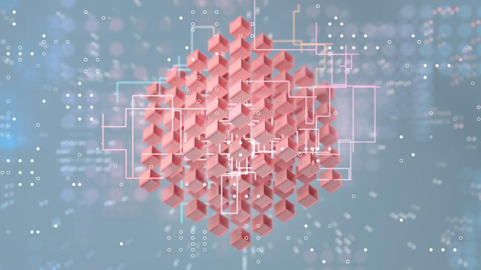 Abstract background with cubes in formation, blockchain
