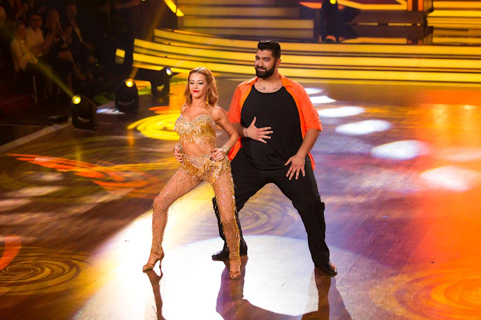 COLOGNE, GERMANY - APRIL 07:  Faisal Kawusi and Oana Nechiti perform on stage during the 4th show of the tenth season of the television competition 'Let's Dance' on April 7, 2017 in Cologne, Germany. (Photo by Florian Ebener/Getty Images)