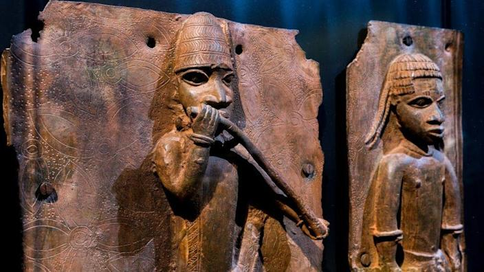 """Sculptures looted by British soldiers from the Kingdom of Benin in 1897 hangs on display in the """"Where Is Africa"""" exhibition at the Linden Museum"""