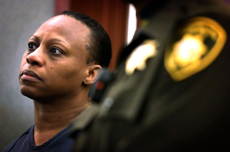 Brenda Stokes Wilson appears in Clark County Justice Court, Friday, Dec. 28, 2012, in Las Vegas. Wilson is accused of slashing a Bellagio blackjack dealer and is suspected of kidnapping and slaying 10-year-old Jade Morris. (AP Photo/Las Vegas Review-Journal, Jeff Scheid)