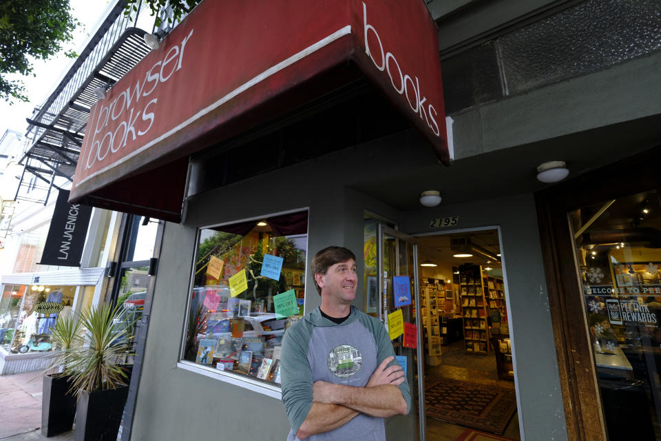 Pete Mulvihill poses for a photo while standing outside at his Browser Books store that he recently opened in San Francisco. (Photo: AP Photo/Eric Risberg)
