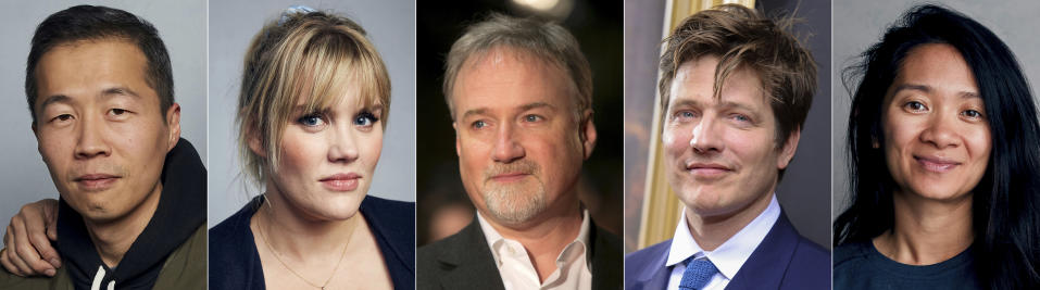 "This combination photo shows Oscar nominees for best director, from left, Lee Isaac Chung for ""Minari,"" Emerald Fennell for ""Promising Young Woman,"" David Fincher for ""Mank,"" Thomas Vinterberg for ""Another Round"" and Chloé Zhao for ""Nomadland."" (AP Photo)"