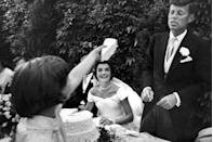 <p>Flower girl Janet Auchincloss was eager to share a piece.</p>