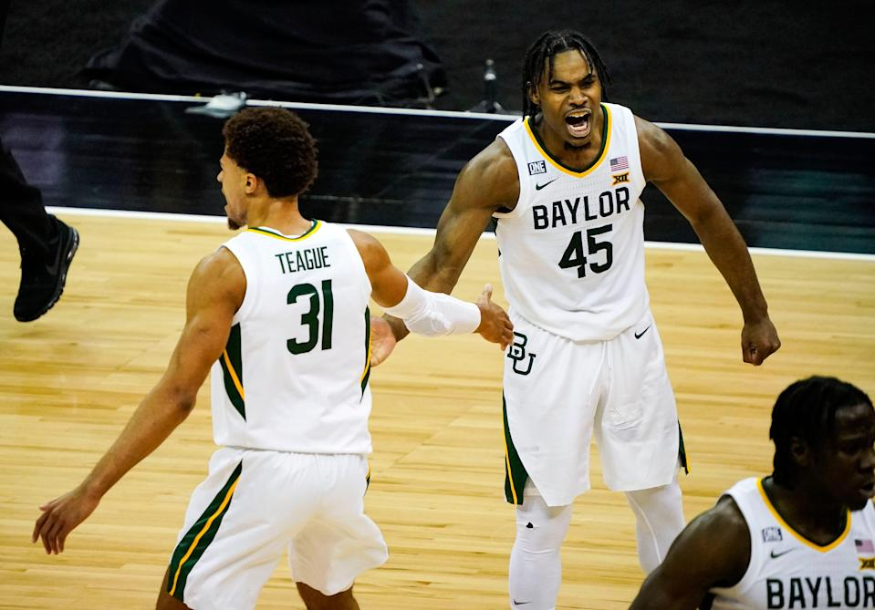 Baylor guards Davion Mitchell and MaCio Teague celebrate during the Big 12 Conference tournament game against Kansas State.