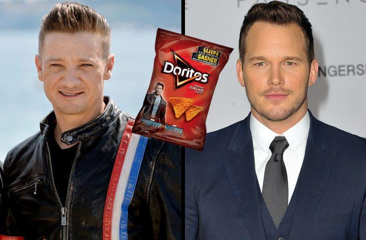 Three images Jeremy Renner Chris Pratt bag of Doritos