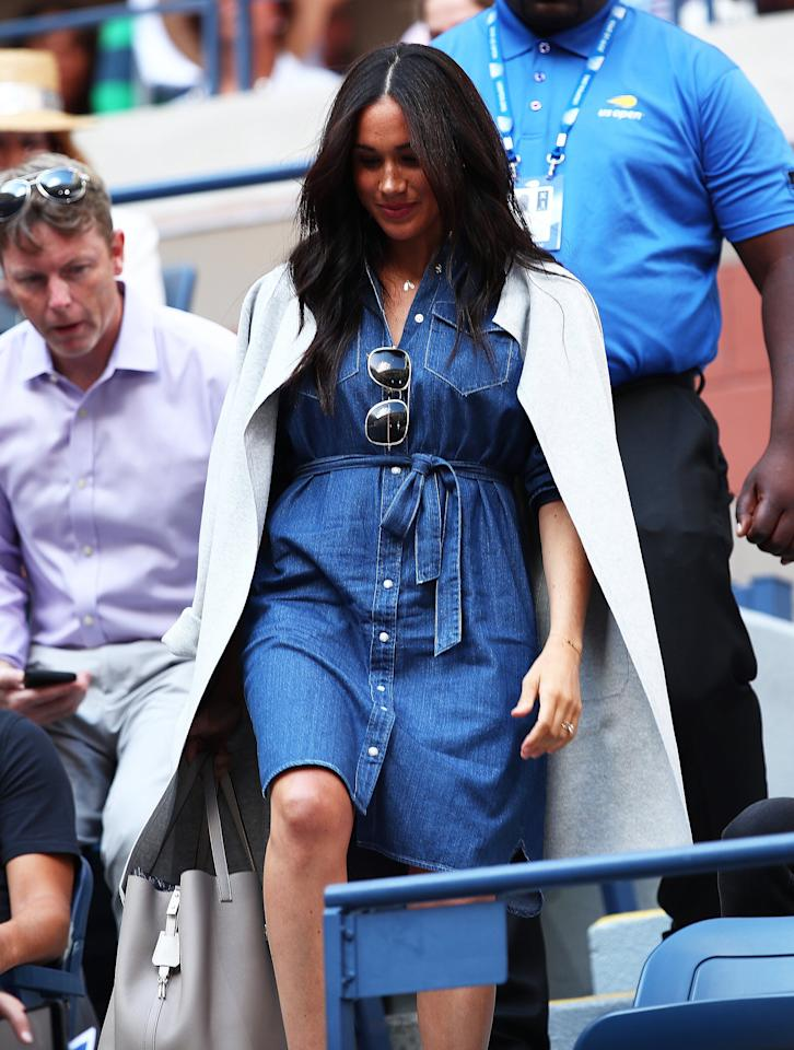 "Meghan Markle <a href=""https://people.com/royals/meghan-markle-us-open-2019-outfit/"" target=""_blank"">cheered on her good friend Serena Williams at the U.S. Open Finals</a> wearing a cute (and unfortunately, already sold out) belted denim shirt dress from J.Crew. The Duchess accessorized her look with a light gray J.Crew sweater jacket, gold Victoria Beckham navigator sunglasses, <a href=""https://click.linksynergy.com/deeplink?id=93xLBvPhAeE&mid=42352&murl=https%3A%2F%2Fwww.shopbop.com%2Fjennifer-meyer-jewelry%2Fbr%2Fv%3D1%2F7968.htm&u1=PEO%2CShopping%3AEverythingYouNeedtoCopyMeghanMarkle%27sChicSummerStyle%2Ckamiphillips2%2CUnc%2CGal%2C6939680%2C201909%2CI"" target=""_blank"" rel=""nofollow"">Jennifer Meyer</a> turquoise bar earrings, and a gold bracelet.  <strong>Get the Look!</strong>  Rails Ripley Dress, $198; <a href=""https://click.linksynergy.com/deeplink?id=93xLBvPhAeE&mid=42352&murl=https%3A%2F%2Fwww.shopbop.com%2Fripley-dress-rails%2Fvp%2Fv%3D1%2F1505907803.htm&u1=PEO%2CShopping%3AEverythingYouNeedtoCopyMeghanMarkle%27sChicSummerStyle%2Ckamiphillips2%2CUnc%2CGal%2C6939680%2C201909%2CI"" target=""_blank"" rel=""nofollow"">shopbop.com</a>  Design by Olivia Women's Spaghetti Strap Front Button Closure Denim Bodycon Dress, $15.97–$30.96; <a href=""https://www.amazon.com/Design-Olivia-Womens-Vintage-Chambray/dp/B07RQW946H/ref=as_li_ss_tl?keywords=denim+dress&pd_rd_r=d648a779-f61e-419c-baf5-4d1d6ad7f6ae&pd_rd_w=ofmUh&pd_rd_wg=80yIb&pf_rd_p=8ae6d416-c697-4484-b867-2340ed2c18c0&pf_rd_r=E8A8DEX2A4FKGN2MN3F3&qid=1568131770&s=apparel&sr=1-1&linkCode=ll1&tag=poamzfmeghanmarklesummerstylekphillips0919-20&linkId=fbe0371f1d6193a6bd1b4b1f451def74&language=en_US"" target=""_blank"">amazon.com</a>  River Island Petite Denim Shirt Dress with Belt in Mid Wash, $72; <a href=""https://click.linksynergy.com/deeplink?id=93xLBvPhAeE&mid=35719&murl=https%3A%2F%2Fus.asos.com%2Friver-island-petite%2Friver-island-petite-denim-shirt-dress-with-belt-in-mid-wash%2Fprd%2F11833520&u1=PEO%2CShopping%3AEverythingYouNeedtoCopyMeghanMarkle%27sChicSummerStyle%2Ckamiphillips2%2CUnc%2CGal%2C6939680%2C201909%2CI"" target=""_blank"" rel=""nofollow"">asos.com</a>  Bella Dahl Cap Sleeve Welt Pocket Shirtdress in Basket Weave Tencera Denim, $174; <a href=""http://www.anrdoezrs.net/links/8029122/type/dlg/sid/PEO,Shopping:EverythingYouNeedtoCopyMeghanMarkle'sChicSummerStyle,kamiphillips2,Unc,Gal,6939680,201909,I/https://www.zappos.com/p/bella-dahl-cap-sleeve-welt-pocket-shirtdress-in-basket-weave-tencera-denim-blue-frost-wash/product/9316827/color/841050"" target=""_blank"" rel=""nofollow"">zappos.com</a>  Wrangler Long Sleeve Denim Shirt Dress, $45–$49.90; <a href=""https://www.amazon.com/Wrangler-Womens-Sleeve-Denim-Shirt/dp/B014NPF3S6/ref=as_li_ss_tl?keywords=denim+shirt+dress+women&qid=1568131719&s=gateway&sr=8-4&linkCode=ll1&tag=poamzfmeghanmarklesummerstylekphillips0919-20&linkId=984b1f207d70cc18b308d0643f2ee75d&language=en_US"" target=""_blank"">amazon.com</a>  Calvin Klein Long Sleeve Denim Dress, $34.99–$98.56; <a href=""https://www.amazon.com/Calvin-Klein-Womens-Sleeve-X-Small/dp/B071X5LMZ8/ref=as_li_ss_tl?keywords=denim+shirt+dress+women&qid=1568131719&s=gateway&sr=8-15&linkCode=ll1&tag=poamzfmeghanmarklesummerstylekphillips0919-20&linkId=6501175b87dcb42b70ccf89424fc4cea&language=en_US"" target=""_blank"">amazon.com</a>  Madewell Denim Pleat Waist Midi Dress, $128; <a href=""http://www.anrdoezrs.net/links/8029122/type/dlg/sid/PEO,Shopping:EverythingYouNeedtoCopyMeghanMarkle'sChicSummerStyle,kamiphillips2,Unc,Gal,6939680,201909,I/https://www.madewell.com/denim-pleat-waist-midi-dress-AB262.html"" target=""_blank"" rel=""nofollow"">madewell.com</a>  Caslon Long Sleeve Denim Shirt Dress, $79; <a href=""https://click.linksynergy.com/deeplink?id=93xLBvPhAeE&mid=1237&murl=https%3A%2F%2Fshop.nordstrom.com%2Fs%2Fcaslon-long-sleeve-denim-shirtdress%2F5265693&u1=PEO%2CShopping%3AEverythingYouNeedtoCopyMeghanMarkle%27sChicSummerStyle%2Ckamiphillips2%2CUnc%2CGal%2C6939680%2C201909%2CI"" target=""_blank"" rel=""nofollow"">nordstrom.com</a>"