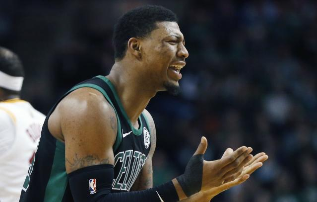 "<a class=""link rapid-noclick-resp"" href=""/nba/players/5317/"" data-ylk=""slk:Marcus Smart"">Marcus Smart</a> tore a tendon in his right thumb in Sunday's loss to the Pacers. (AP)"