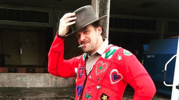 Hopper From 'Stranger Things' Wore A Holiday Sweater And Became A Meme