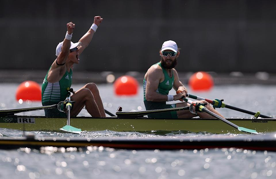 <p>Fintan Mccarthy and Paul O'Donovan of Team Ireland win the Lightweight Men's Double Sculls Final A at Sea Forest Waterway on July 29.</p>