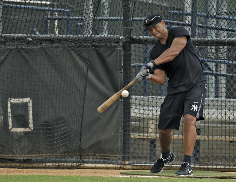 New York Yankees' Alex Rodriguez takes batting practice during a workout Wednesday, June 5, 2013, at the Yankees' minor league complex in Tampa, Fla. Major League Baseball has begun interviewing players linked to a Miami anti-aging clinic that allegedly sold performance-enhancing drugs and became the focus of the sport's investigation. Rodriguez, Ryan Braun, Nelson Cruz, Melky Cabrera and Bartolo Colon are among more than a dozen players whose names have been tied to the now-closed clinic, Biogenesis of America. (AP Photo/Chris O'Meara)