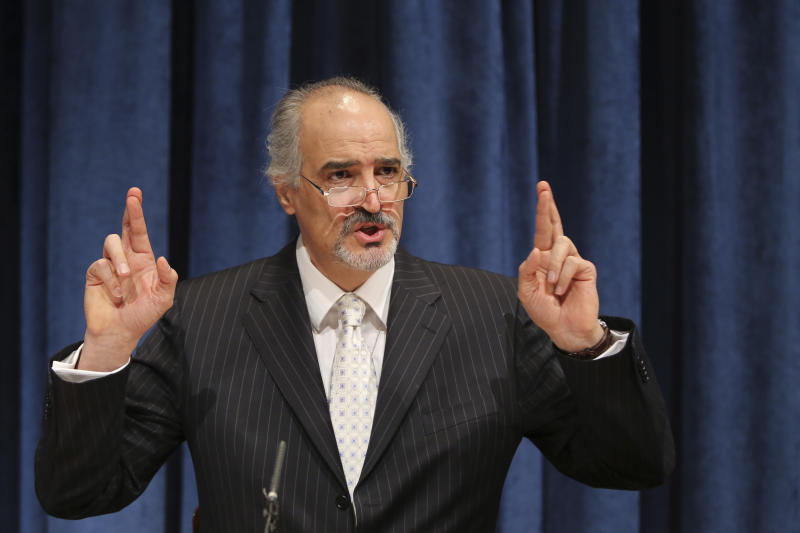 """Bashar Ja'afari, Syria's U.N. ambassador, gestures as he speaks during a news conference, Tuesday, April 30, 2013 at United Nations headquarters. Bashar Ja'afari says the use of chemical weapons is not only """"a red line"""" but """"a blood line"""" that cannot be tolerated and is again demanding a U.N. investigation of an alleged chemical weapons attack in Aleppo that it blames on rebels.  (AP Photo/Mary Altaffer)"""