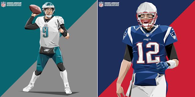 Under Armour promo illustrations for Nick Foles (L) and Tom Brady. (Under Armour/Sunflower Man)