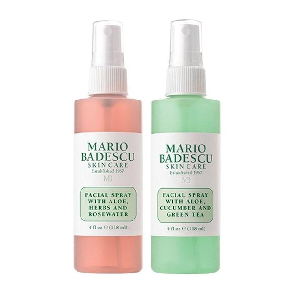"<p><strong>Mario Badescu</strong></p><p>amazon.com</p><p><strong>$14.00</strong></p><p><a href=""https://www.amazon.com/dp/B074ZB7LWJ?tag=syn-yahoo-20&ascsubtag=%5Bartid%7C2089.g.154%5Bsrc%7Cyahoo-us"" rel=""nofollow noopener"" target=""_blank"" data-ylk=""slk:Shop Now"" class=""link rapid-noclick-resp"">Shop Now</a></p><p>Beauty buffs know the magic of Mario Badescu's cult-favorite <a href=""http://www.bestproducts.com/beauty/g3056/hydrating-face-mist-spray/"" rel=""nofollow noopener"" target=""_blank"" data-ylk=""slk:facial mists"" class=""link rapid-noclick-resp"">facial mists</a>. A quick spritz keeps skin hydrated throughout the day, and they can double as makeup setting sprays, too. </p>"