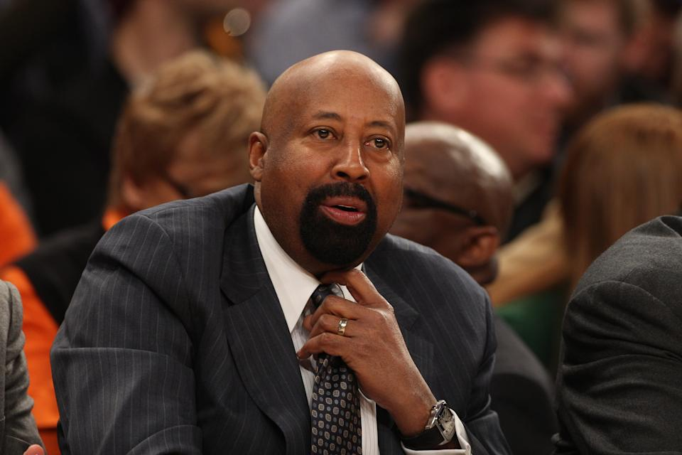 Mike Woodson, Coach of the New York Knicks, during the New York Knicks vs Milwaukee Bucks, NBA Basketball game at Madison Square Garden, New York. USA. 15th March 2014. Photo Tim Clayton (Photo by Tim Clayton/Corbis via Getty Images)
