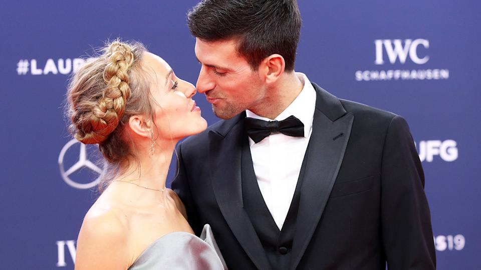 Novak Djokovic and wife Jelena, pictured here at the 2019 Laureus World Sports Awards.