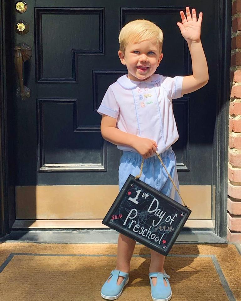 """Ford <a href=""""https://www.instagram.com/p/B2P4WkfADuF/"""">waved goodbye</a> to his mom and dad on his first day of preschool!"""