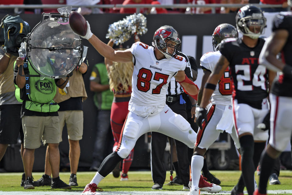 Tampa Bay Buccaneers tight end Rob Gronkowski (87) spikes the football after scoring on a 20-yard pass play against the Atlanta Falcons during the first half of an NFL football game Sunday, Sept. 19, 2021, in Tampa, Fla. (AP Photo/Jason Behnken)