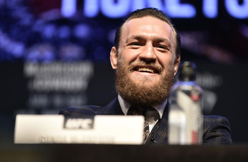 LAS VEGAS, NEVADA - JANUARY 15: Conor McGregor of Ireland interacts with the crowd during the UFC 246 press conference at Pearl Theater at the Palms Casino Resort on January 15, 2020 in Las Vegas, Nevada. (Photo by Chris Unger/Zuffa LLC via Getty Images)