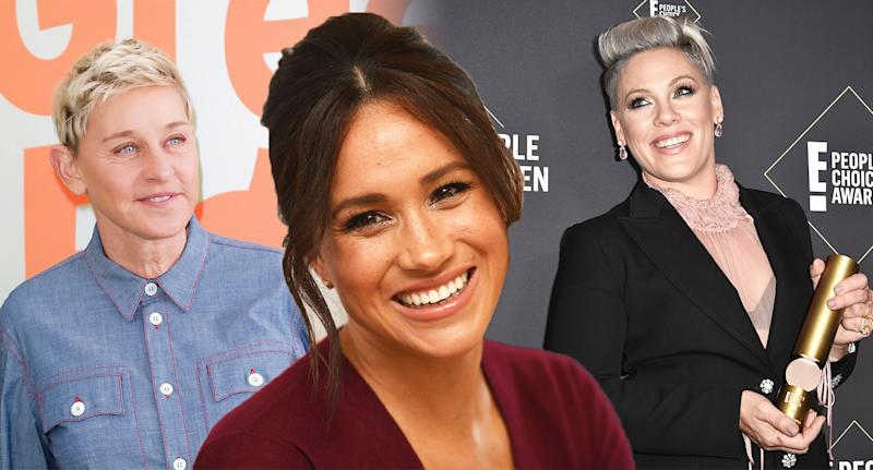 From left, Ellen DeGeneres, Meghan Markle and Pink are all advocates of being more kind. [Photo: Getty]