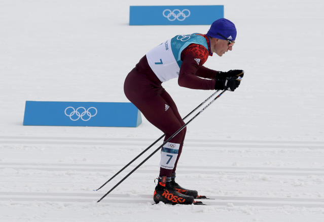 Alexander Bolshunov, of the team from Russia, races during men's 50k cross-country skiing competition at the 2018 Winter Olympics in Pyeongchang, South Korea, Saturday, Feb. 24, 2018. (AP Photo/Kirsty Wigglesworth)
