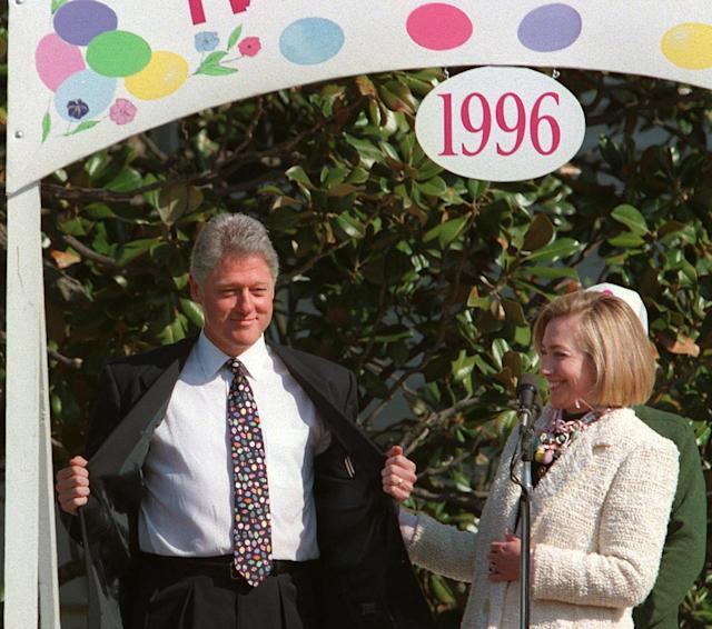 <p>First lady Hillary Rodham Clinton laughs as President Clinton shows off his Easter Egg tie during the annual White House Easter Egg Roll and Hunt, Monday, April 8, 1996. (Photo: Ruth Fremson/AP) </p>
