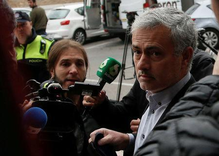 FILE PHOTO: Manchester United manager Jose Mourinho arrives at court to testify on tax fraud charges in Pozuelo de Alarcon, near Madrid, Spain, November 3, 2017. REUTERS/Javier Barbancho/File Photo