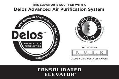 Elevator Plaque for Delos air purification system.