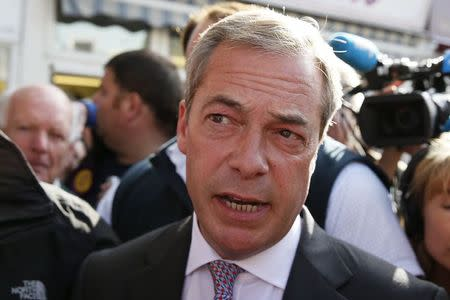 Nigel Farage the leader of the United Kingdom Independence Party speaks to media in Clacton-on-Sea