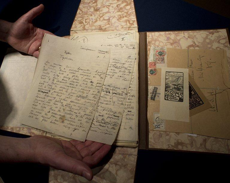 "The working manuscript of ""Typhoon,"" by Joseph Conrad, is displayed in Sotheby's in New York on June 6, 2013"