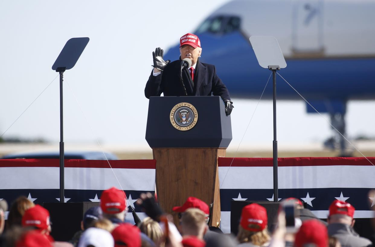 U.S. President Donald Trump delivers remarks during a campaign rally at Fayetteville Regional Airport on November 2, 2020.