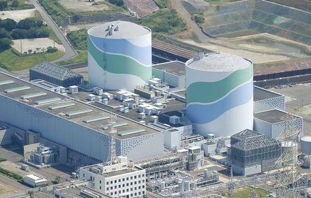 An aerial view shows the No.1 and No.2 reactor buildings at Kyushu Electric Power's Sendai nuclear power station in Satsumasendai