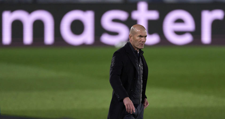 MADRID, SPAIN - APRIL 06: Zinedine Zidane head Coach of Real Madrid looks on during the UEFA Champions League Quarter Final match between Real Madrid and Liverpool FC at Estadio Alfredo Di Stefano on April 06, 2021 in Madrid, Spain. (Photo by Diego Souto/Quality Sport Images/Getty Images)