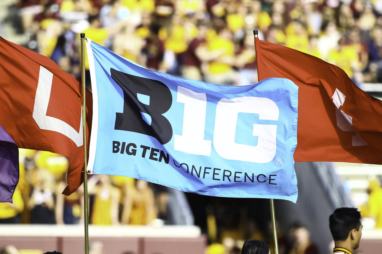MINNEAPOLIS, MN - AUGUST 30:A Big Ten Conference flag waves during the regular season game between the New Mexico State Aggies and the Minnesota Golden Gophers on August 30, 2018 at TCF Bank Stadium in Minneapolis, Minnesota. The Gophers defeated the Aggies 48-10. (Photo by David Berding/Icon Sportswire via Getty Images)