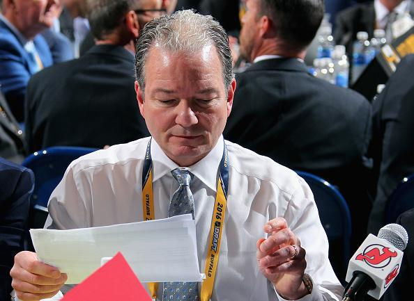 "BUFFALO, NY – JUNE 25: General manager Ray Shero of the <a class=""link rapid-noclick-resp"" href=""/nhl/teams/njd/"" data-ylk=""slk:New Jersey Devils"">New Jersey Devils</a> attends the 2016 NHL Draft at First Niagara Center on June 25, 2016 in Buffalo, New York. (Photo by Bill Wippert/NHLI via Getty Images)"