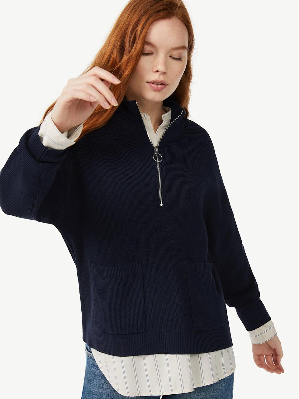 <p>Don't be afraid to dress up your sweatshirts. Take the <span>Free Assembly Women's Boxy Half-Zip Sweater</span> ($28), for example, which looks sharp when ($28) paired with a collared shirt and jeans.</p>