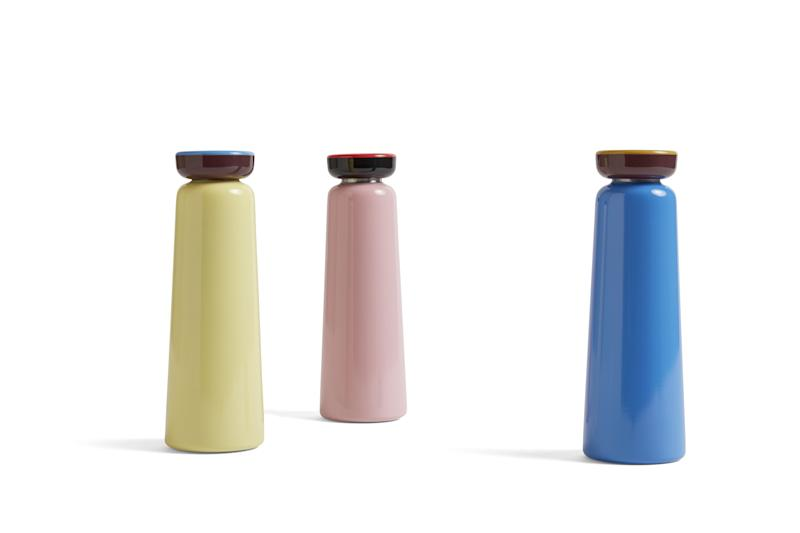 Beautiful travel-ready water bottles designed by George Sowden for HAY.