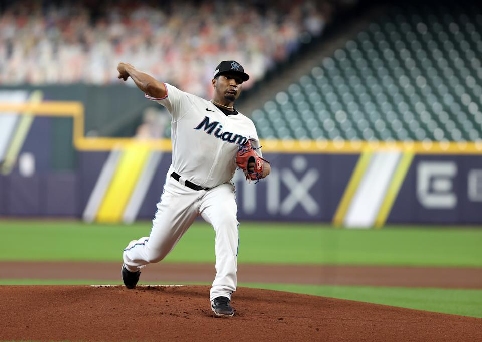 HOUSTON, TX - OCTOBER 08: Sixto Sanchez #73 of the Miami Marlins pitches during Game 3 of the NLDS between the Atlanta Braves and the Miami Marlins at Minute Maid Park on Thursday, October 8, 2020 in Houston, Texas. (Photo by Michael Starghill/MLB Photos via Getty Images)