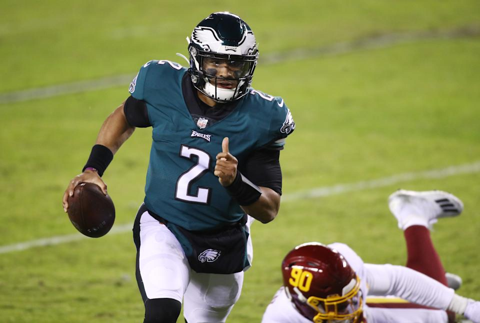 PHILADELPHIA, PA - JANUARY 03: Philadelphia Eagles Quarterback Jalen Hurts (2) carries the ball for a touchdown in the first half during the game between the Washington Football Team and Philadelphia Eagles on January 03, 2021 at Lincoln Financial Field in Philadelphia, PA. (Photo by Kyle Ross/Icon Sportswire via Getty Images)