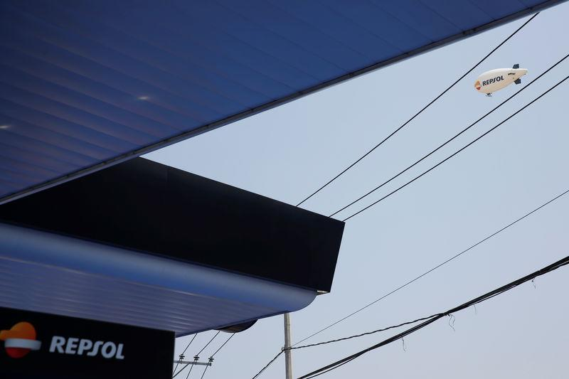 The logo of Spanish energy giant Repsol SA is seen during the opening ceremony of its first gas station in Mexico City