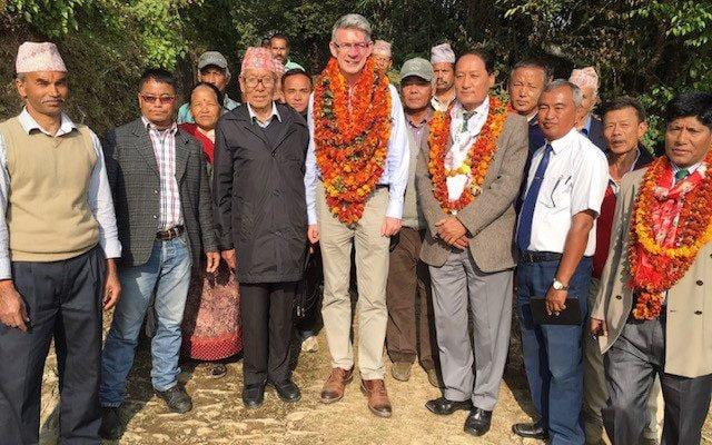 Richard Morris, centre, in Nepal - Richard Morris