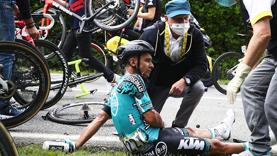 Bryan Coquard, pictured here after the horrific crash in the Tour de France.