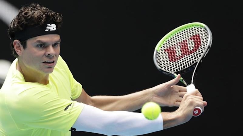 Milos Raonic (pic) is in the Australian Open quarter-finals, beating Marin Cilic in straight sets